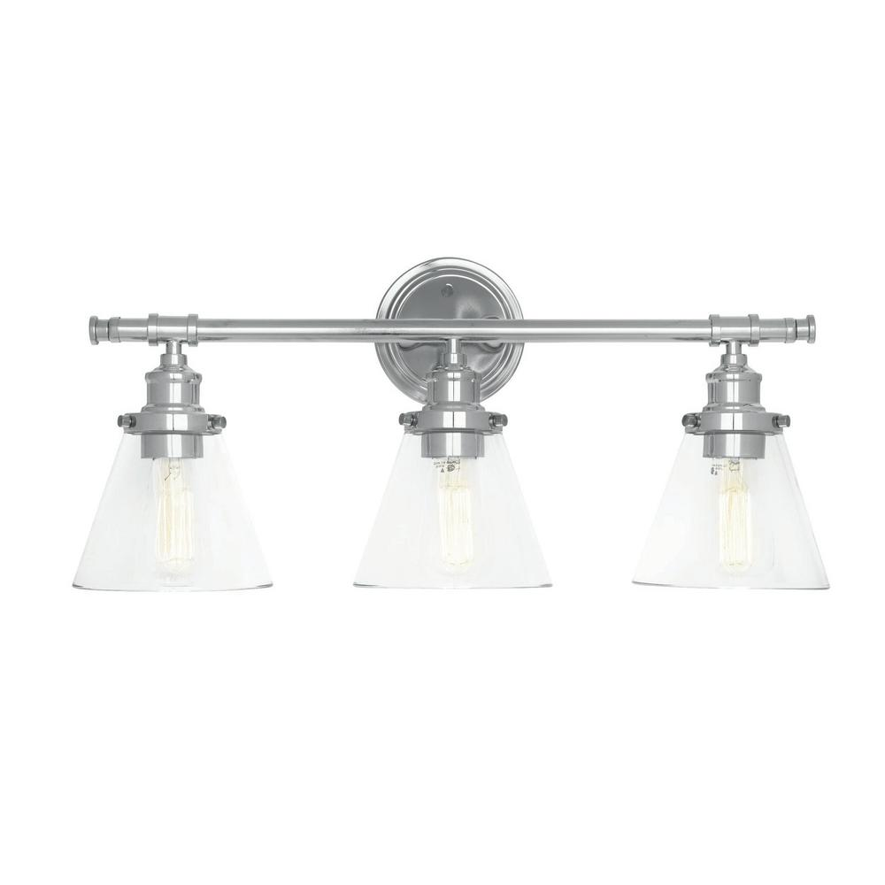 Globe Electric Parker 3 Light Chrome Vanity With Clear Gl Shades And 4 Piece Bath Set