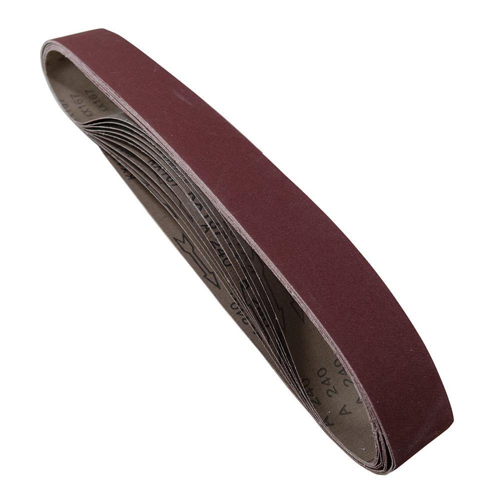 2 in. x 42 in. 80-Grit Aluminum Oxide Sanding Belt (10-Pack)