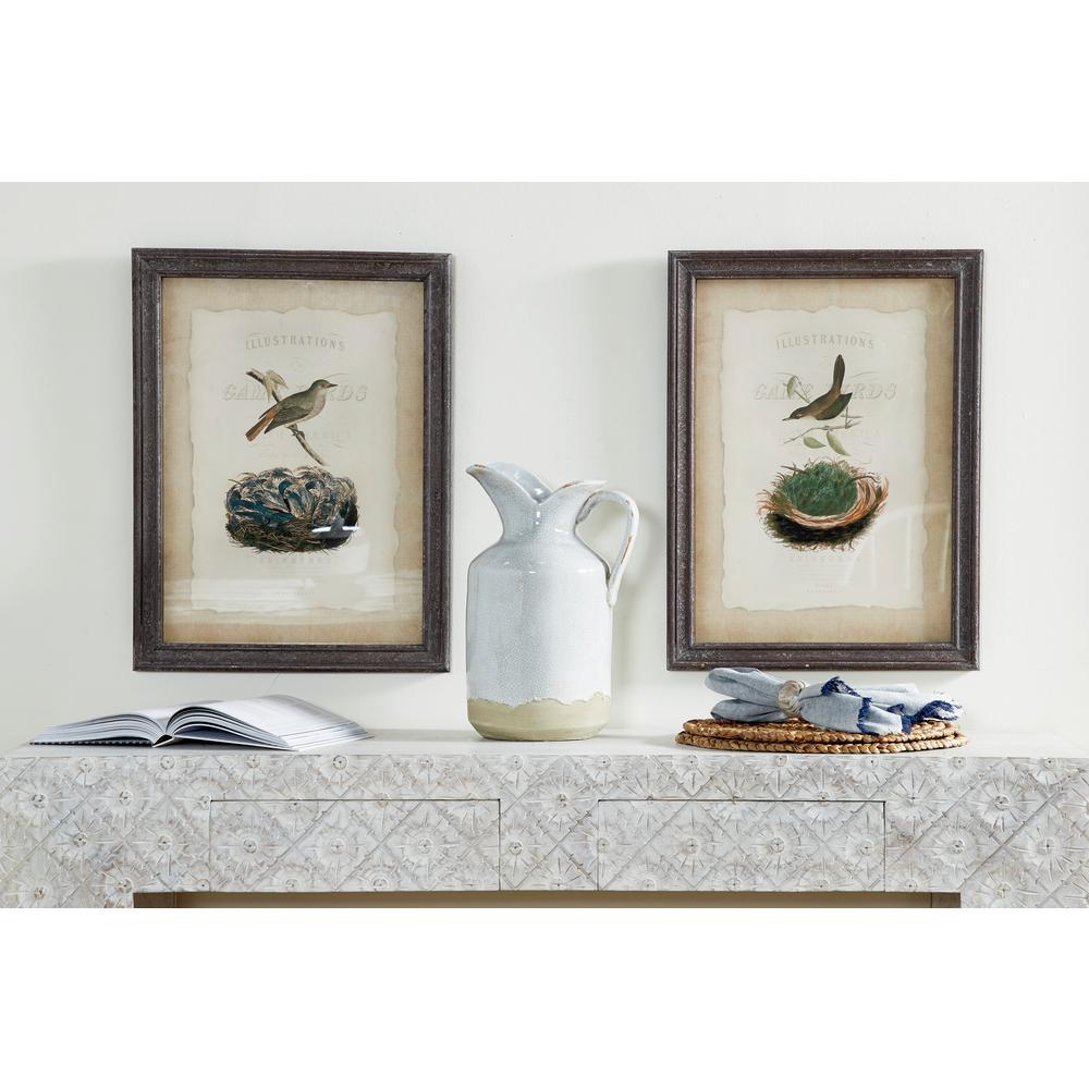 Rectangular Vintage Bird Illustrations Framed Wooden Wall Art Set Of 2