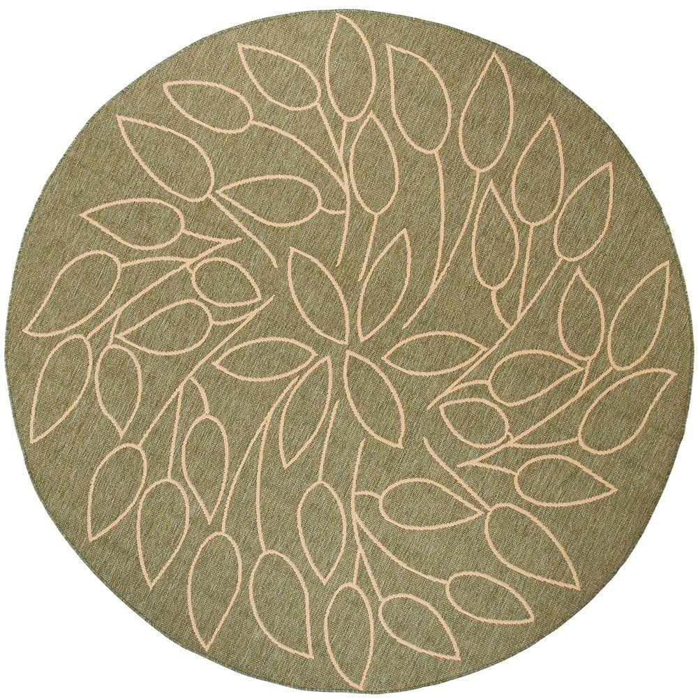 Home Decorators Collection Persimmon Green/Natural 9 Ft. X 9 Ft. Round Area