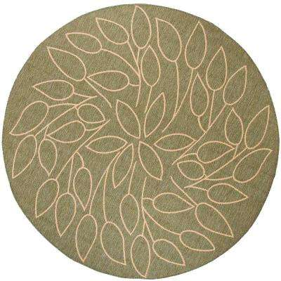 Persimmon Green/Natural 9 ft. x 9 ft. Round Area Rug