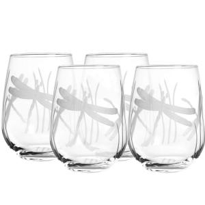 Click here to buy Rolf Glass Dragonfly 17 oz. Clear Stemless Wine Glass (Set of 4) by Rolf Glass.
