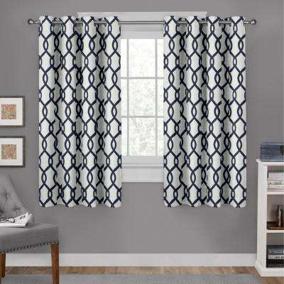 Kochi Indigo Linen Blend Grommet Top Window Curtain