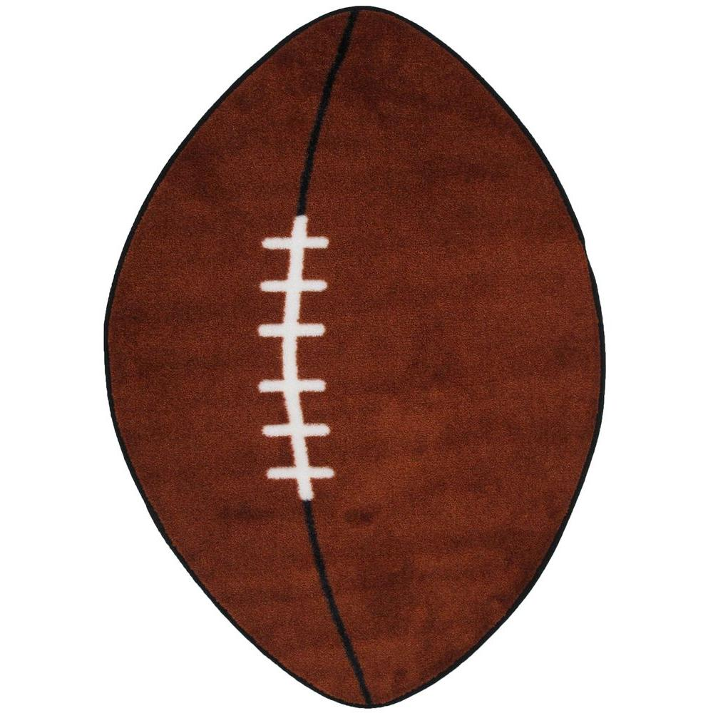 LA Rug Fun Time Shape Football Brown and White 28 in. x 45 in. Area Rug
