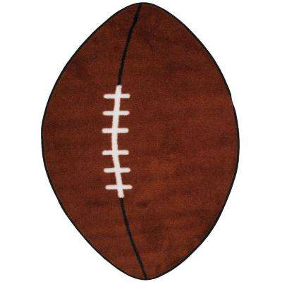 Fun Time Shape Football Brown and White 28 in. x 45 in. Area Rug