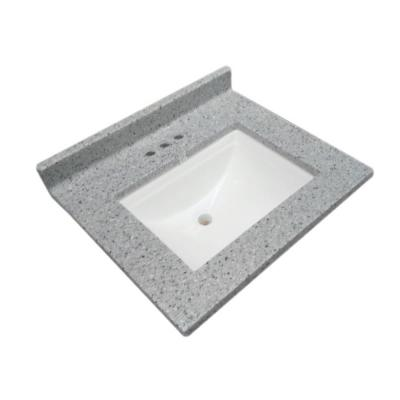 25 in. W Cultured Marble Vanity Top in Moonscape Grey with Solid White Basin and 4 in. Faucet Spread