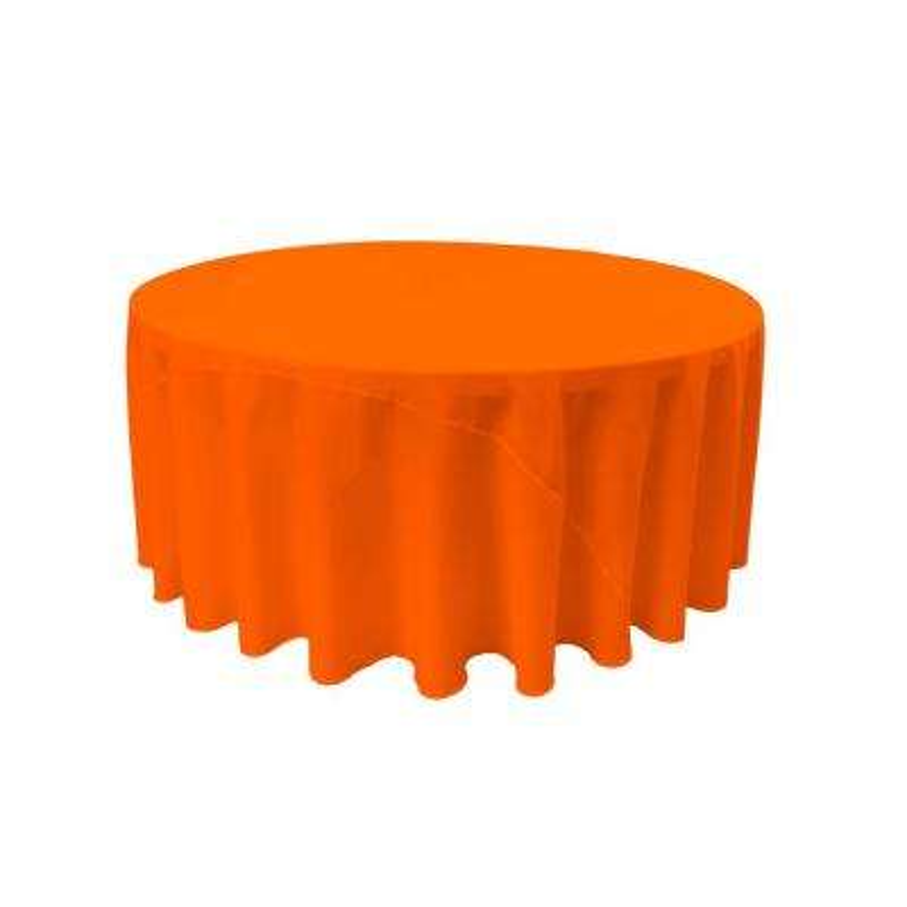 120 in. Orange Polyester Poplin Round Tablecloth