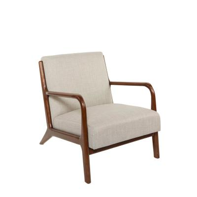 Charles Silver Upholstered and Wood Accent Chair