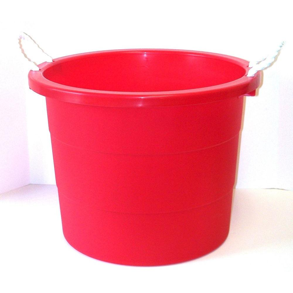 United Solutions 10 Gal Rope Handle Tub in Cherry Red