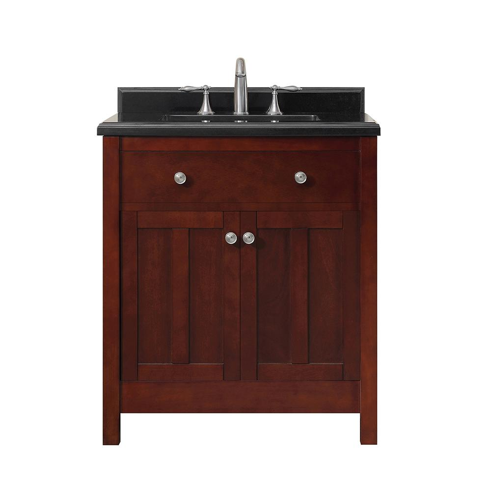 OVE Decors Castel 30 in. W Bath Vanity in Dark Cherry with Black Granite Vanity Top with White Basin