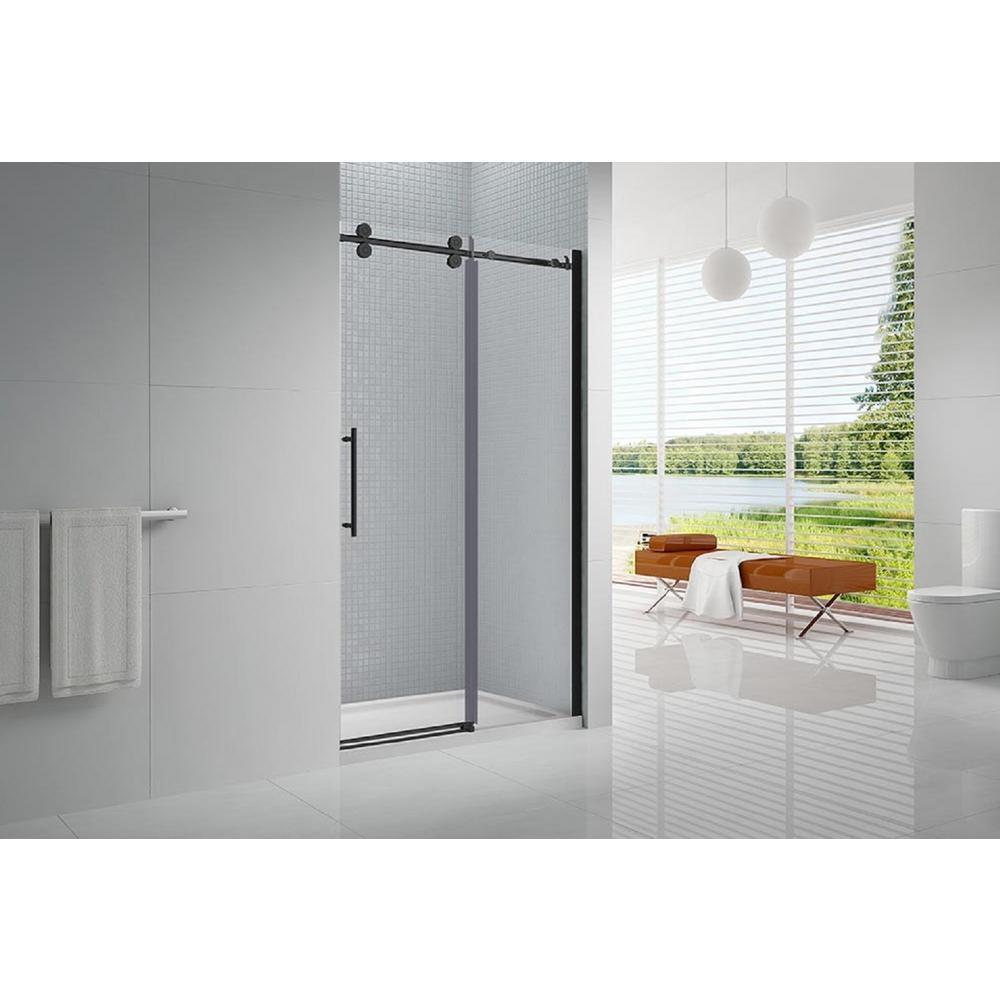 Vivid 60 in. x 78 in. Frameless Sliding Shower Door in Black with 60 in. x 36 in. Acrylic Shower Base in White