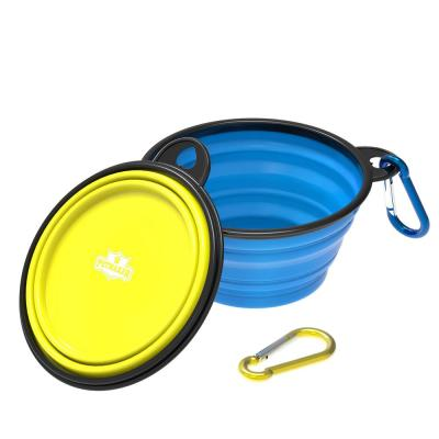 12 oz. Silicone Collapsible Pet Food Bowls in Blue and Yellow