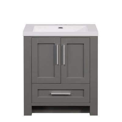 30 in. W x 19.1 in. D x 34.0 in. H Bathroom Vanity in Modern Gray with Cultured Marble Top and Basin in White