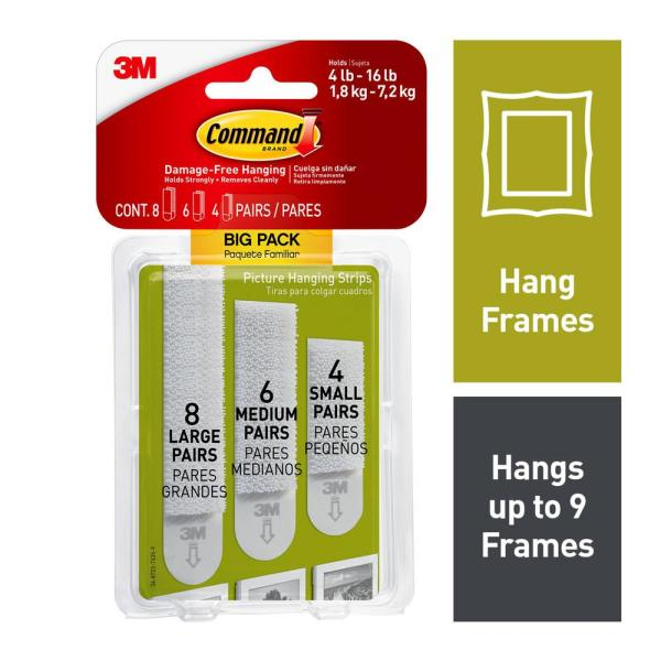 Command - Assorted Sizes White Picture Hanging Strips Big Pack (8-Sets per Pack, 6-Sets per Pack, 4-Sets per Pack)