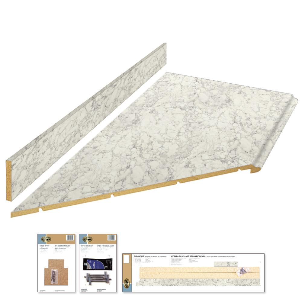 Hampton Bay 8 Ft Laminate Countertop Kit With Left Miter In Marmo Bianco Marble With Valencia Edge 12337kt08l1885 The Home Depot