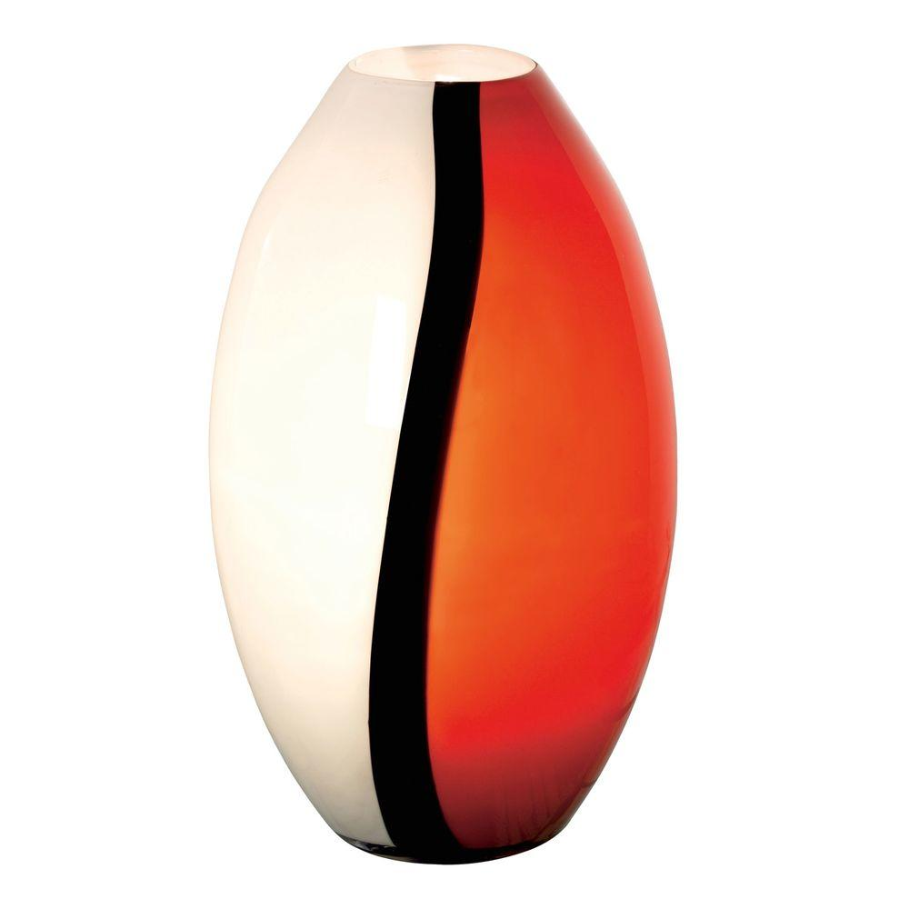 Eglo Empori 14.2 in. 1-Light Red/Black/White Glass Table Lamp