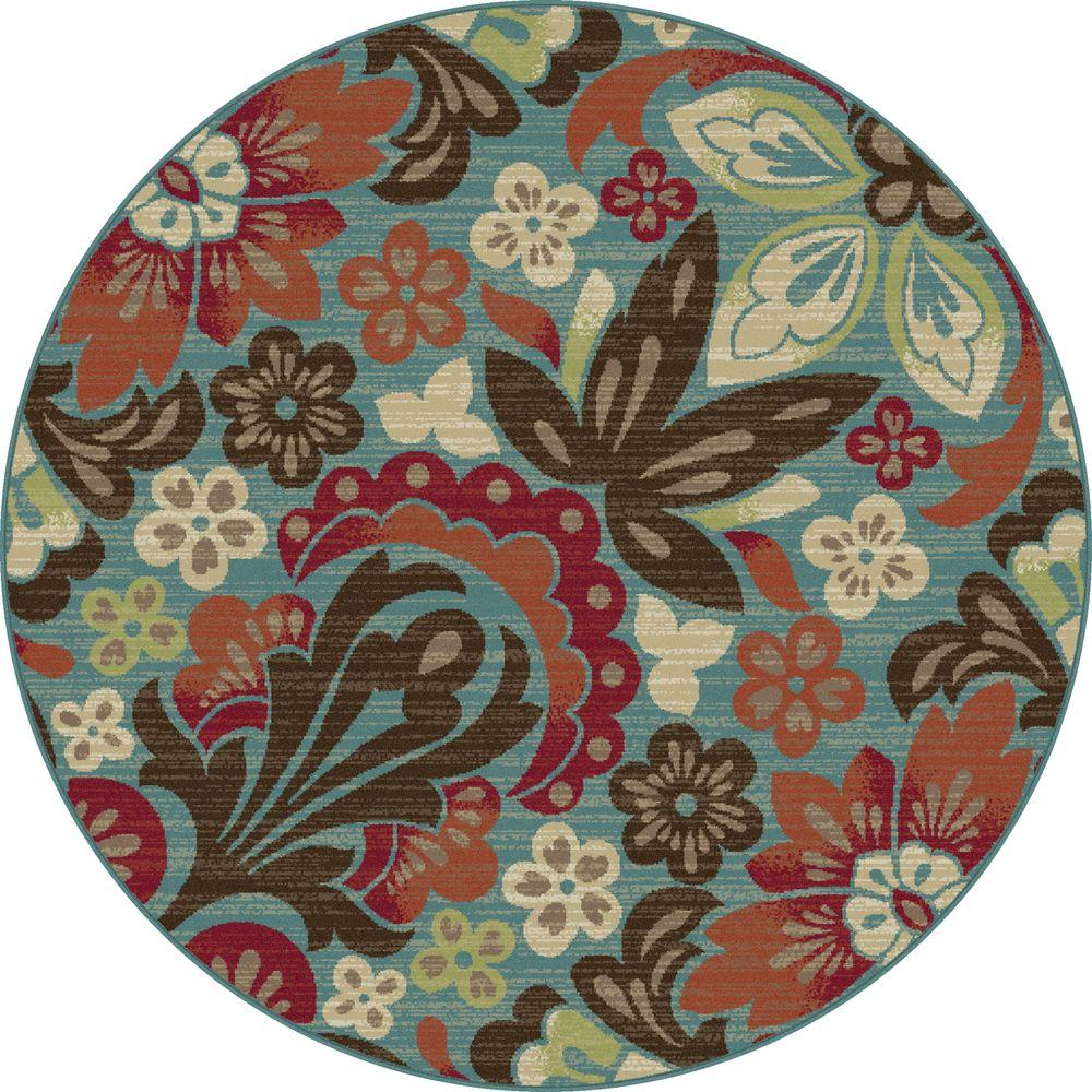 Tayse Rugs Deco Blue 7 ft. 10 in. Round Transitional Area Rug