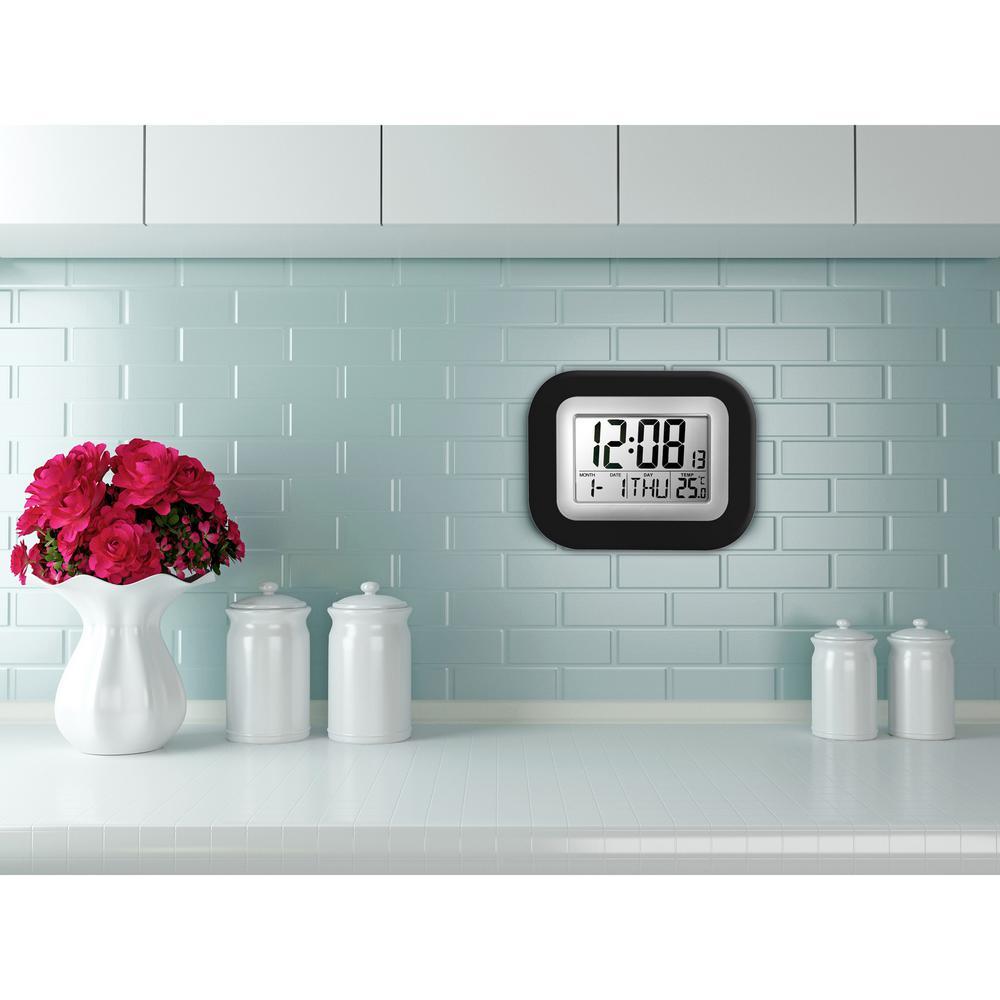 Westclox Digital Black and Gray Wall Clock-55006BK - The Home Depot