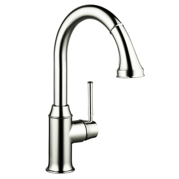 Talis C Single-Handle Pull-Down Sprayer Kitchen Faucet in Polished Nickel
