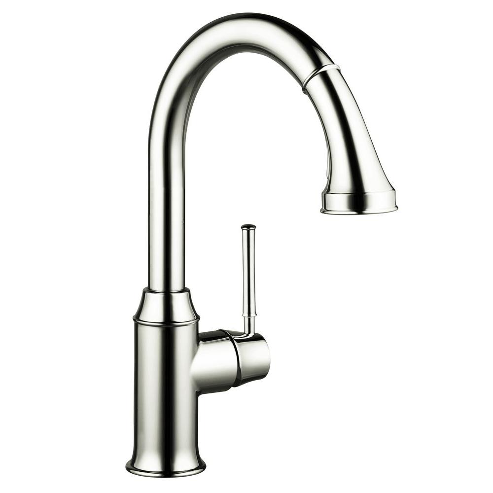 null Talis C Single-Handle Pull-Down Sprayer Kitchen Faucet in Polished Nickel