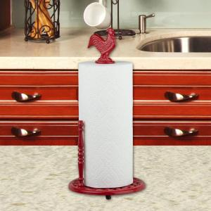 Cast Iron Rooster Paper Towel Holder In Red