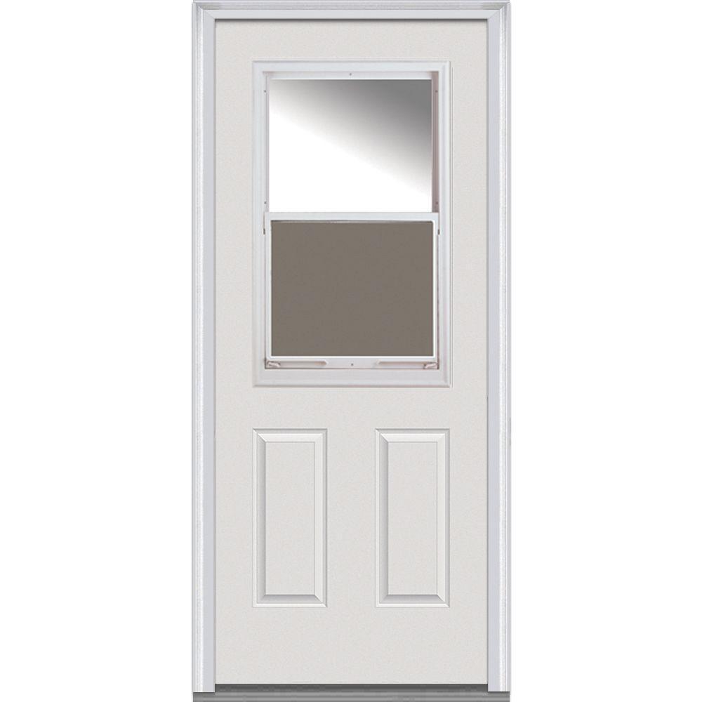 Mmi door 36 in x 80 in clear glass right hand 1 2 lite 2 panel venting classic primed steel - Exterior back door with window ...