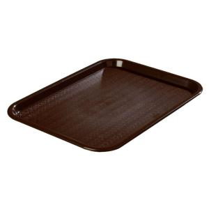 Carlisle 10.75 inch x 13.87 inch Polypropylene Cafeteria/Food Court Serving Tray in Chocolate Brown (Case of 24) by Carlisle