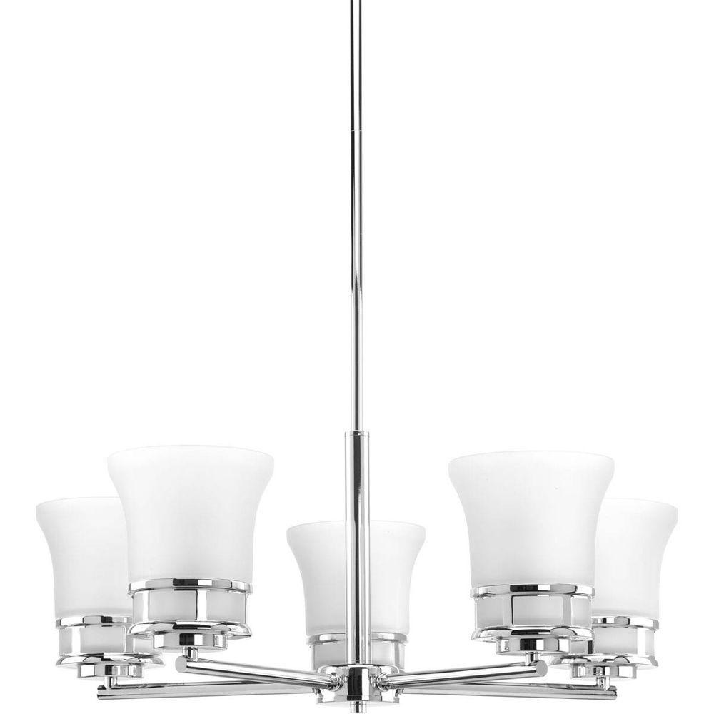 Cascadia Collection 5-Light Polished Chrome Chandelier with Etched Glass