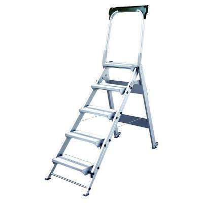 5-Step Ultra Duty Aluminum Folding Stool with Handrail with 375 lbs. Load Capacity Type IAA Duty Rating