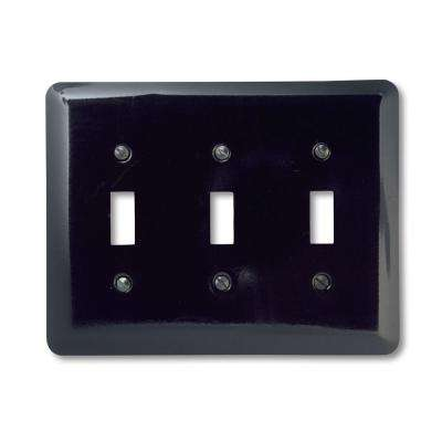 Steel 3 Toggle Wall Plate - Black