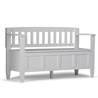 Brooklyn Solid Wood 48 in. Wide Contemporary Entryway Storage Bench in White