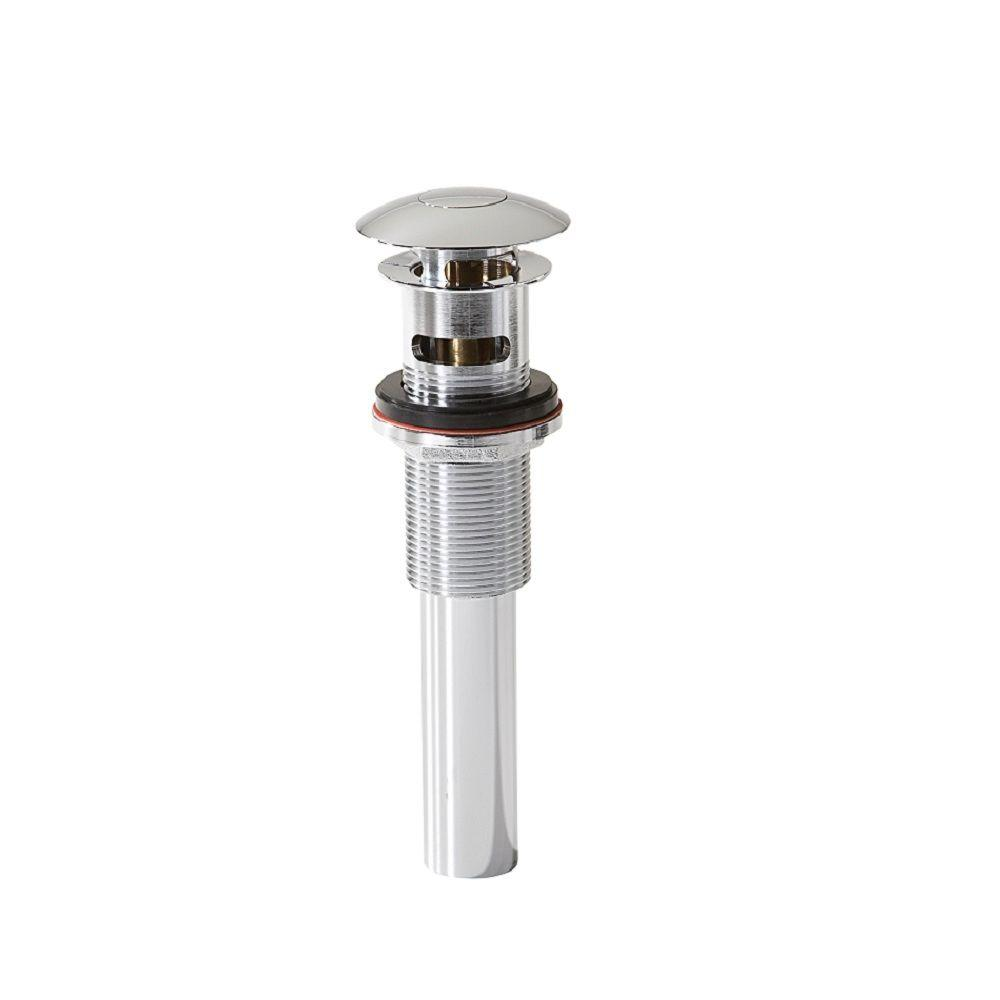 null 2.717 in. H x 8.6875 in. D Push Button Closing Umbrella Drain with Overflow in Polished Chrome