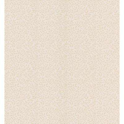 Beige Leaf Print Wallpaper Sample