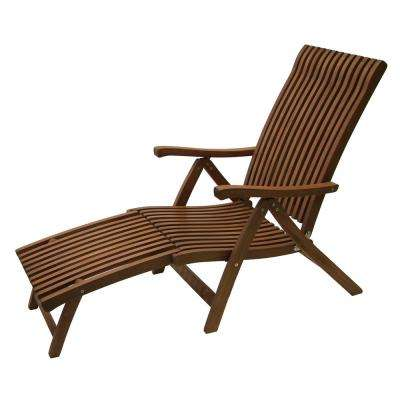 Venetian Reclining Eucalyptus Wood Outdoor Lounge Chair with Ottoman