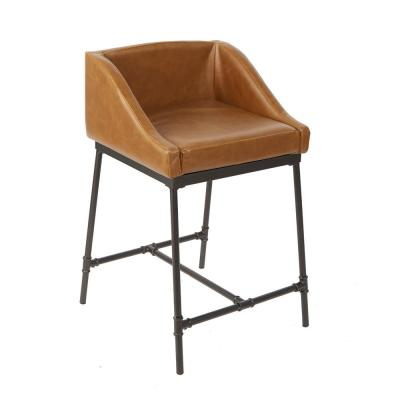 Renzo 24 in. Brown and Black Industrial Square Bar Stool