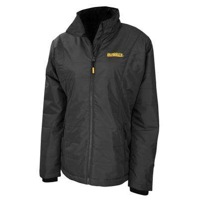 Ladies Small Black Quilted Polyfil Heated Jacket with 20-Volt/2.0 AMP Battery and Charger