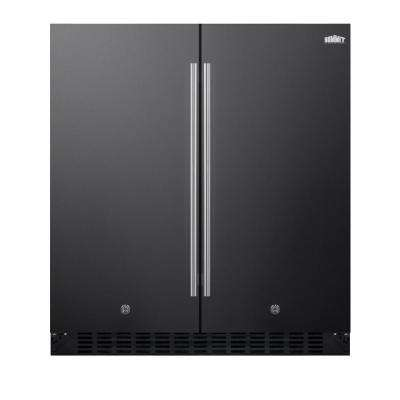 30 in. 5.4 cu. ft. Built-In Side by Side Refrigerator in Black, Counter Depth
