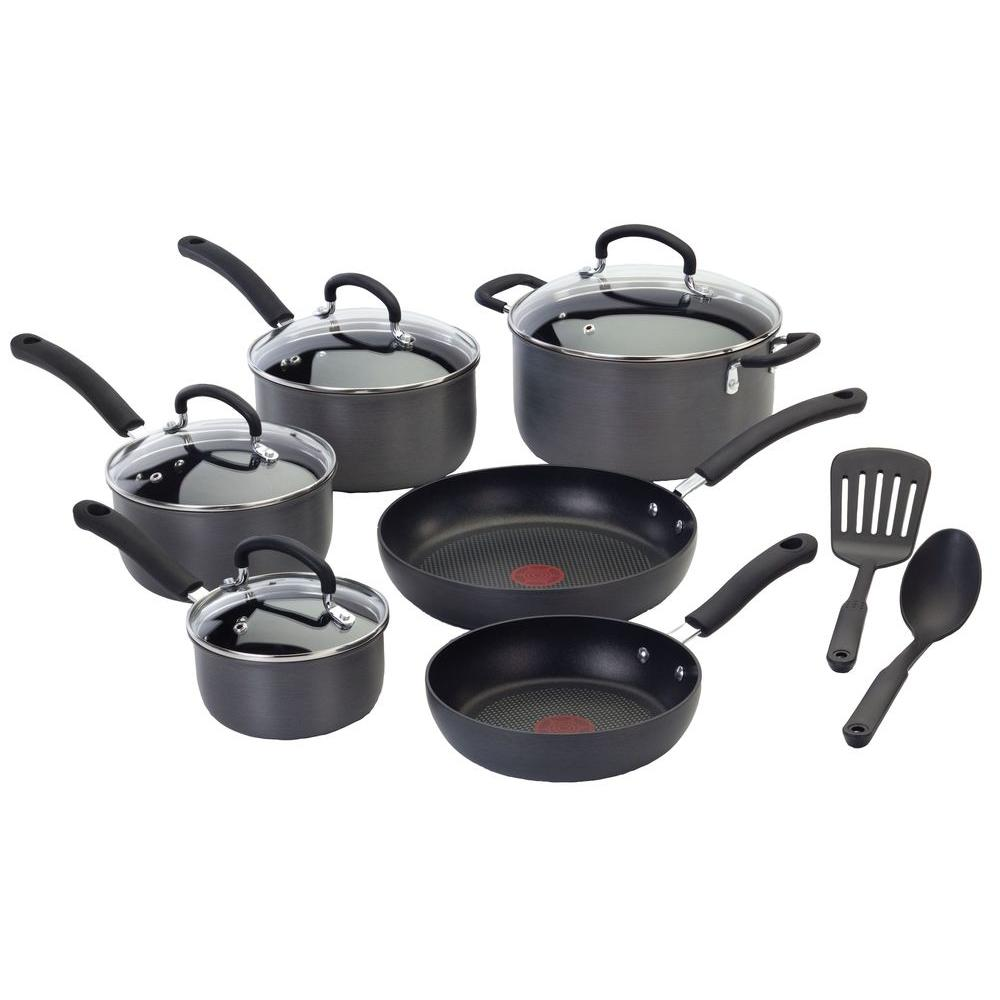 Ultimate Hard Anodized 12 Piece Cookware Set Aluminum, Black