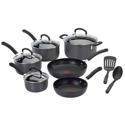 Ultimate 12-Piece Hard-Anodized Aluminum Nonstick Cookware Set in Black