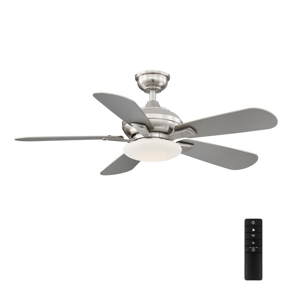 Home Decorators Collection Wilmington 52 In Led Brushed Nickel Ceiling Fan With Light Am696 Bn The Home Depot
