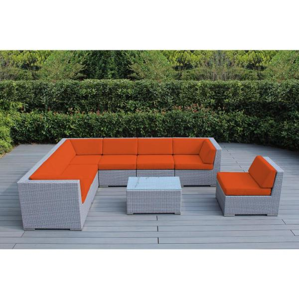 Ohana Gray 8-Piece Wicker Patio Seating Set with Supercrylic Orange Cushions