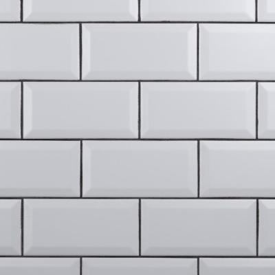 Crown Heights Beveled 3 in. x 6 in. Matte White Ceramic Wall Tile (6.03 sq. ft. /Case)