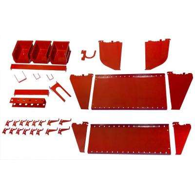 1 in. Vertical Red Slotted Metal Pegboard Workstation Accessory Kit