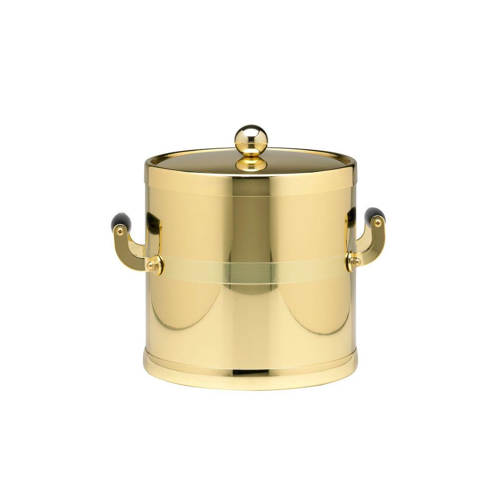 Americano 3 Qt. Polished Brass Ice Bucket and Lid, Wood Side