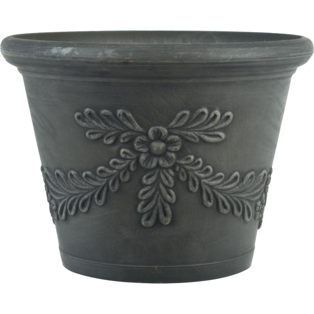 16 in. Dia Garland Charcoal Gray Plastic Planter