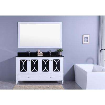 60 in. W x 22 in. D Vanity in White with Tempered Glass Vanity Top and Mirror