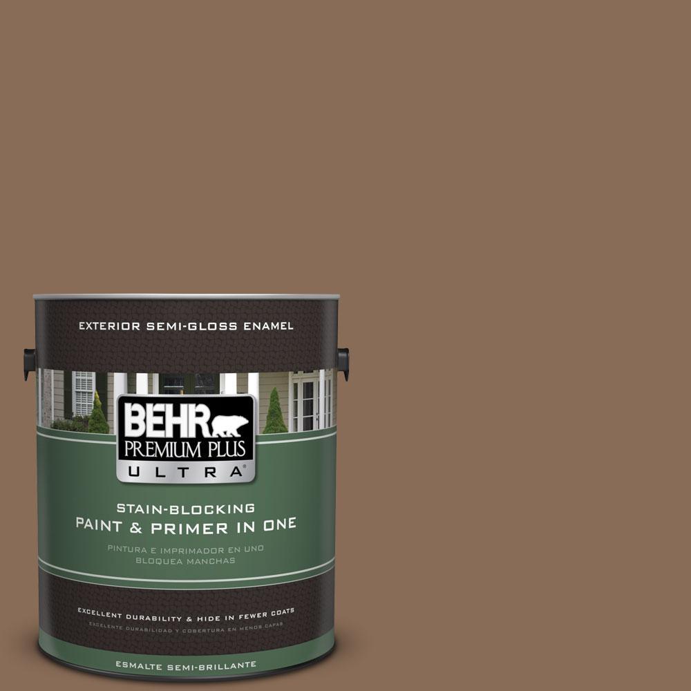 BEHR Premium Plus Ultra 1-gal. #BNC-34 Spiced Latte Semi-Gloss Enamel Exterior Paint