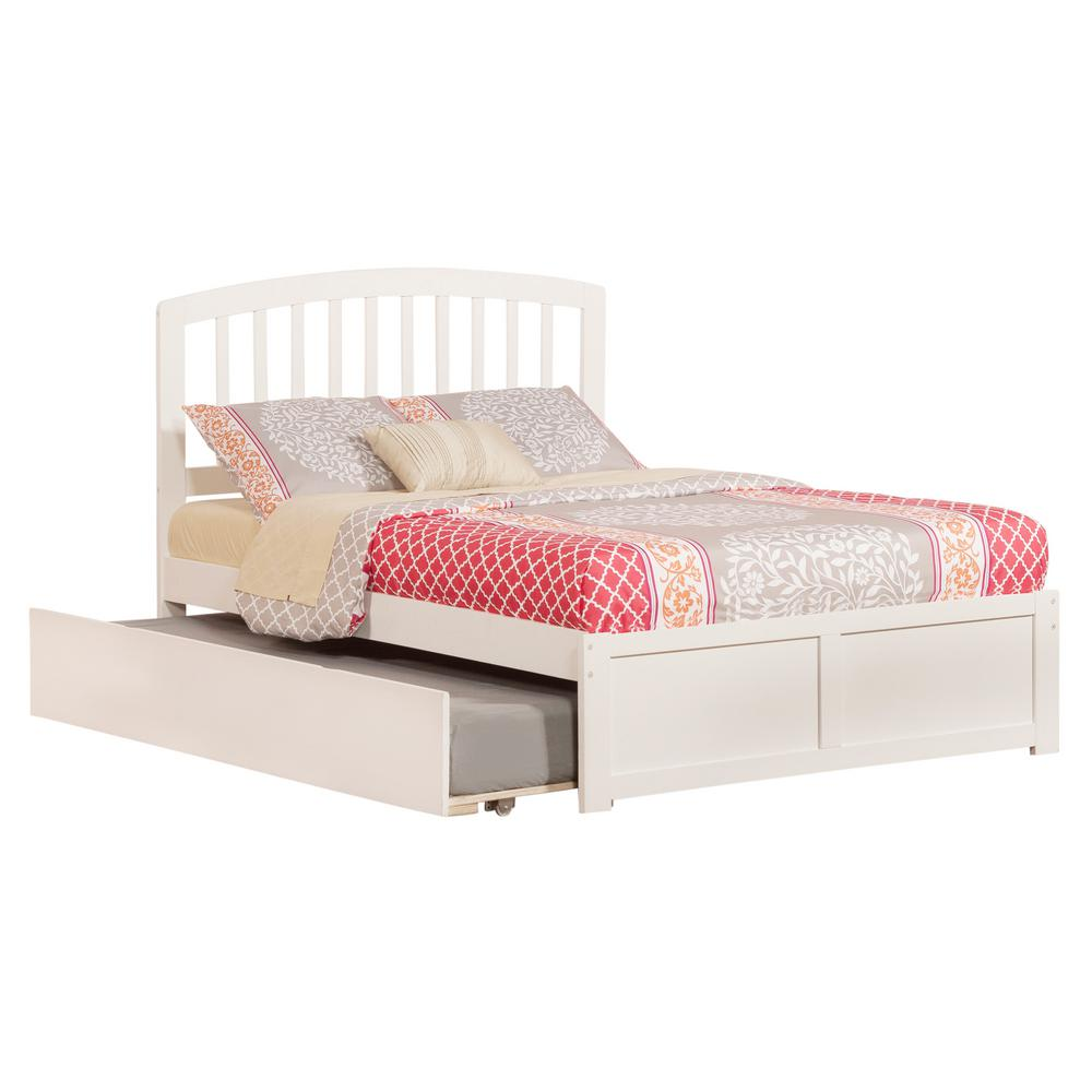 Richmond White Full Platform Bed with Flat Panel Foot Board and