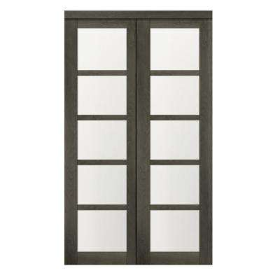 48 in. x 80.50 in. 5-Lite 1-Panel Iron Age Finished MDF Sliding Door