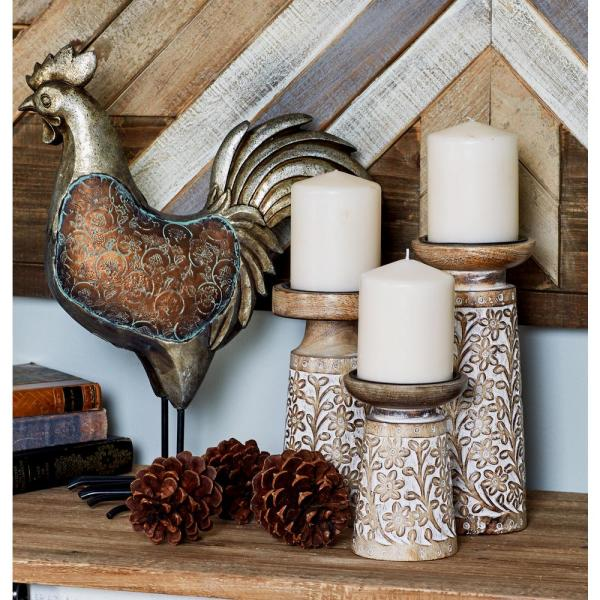 Litton Lane Brown Iron and Wood Candle Holders with White Accents